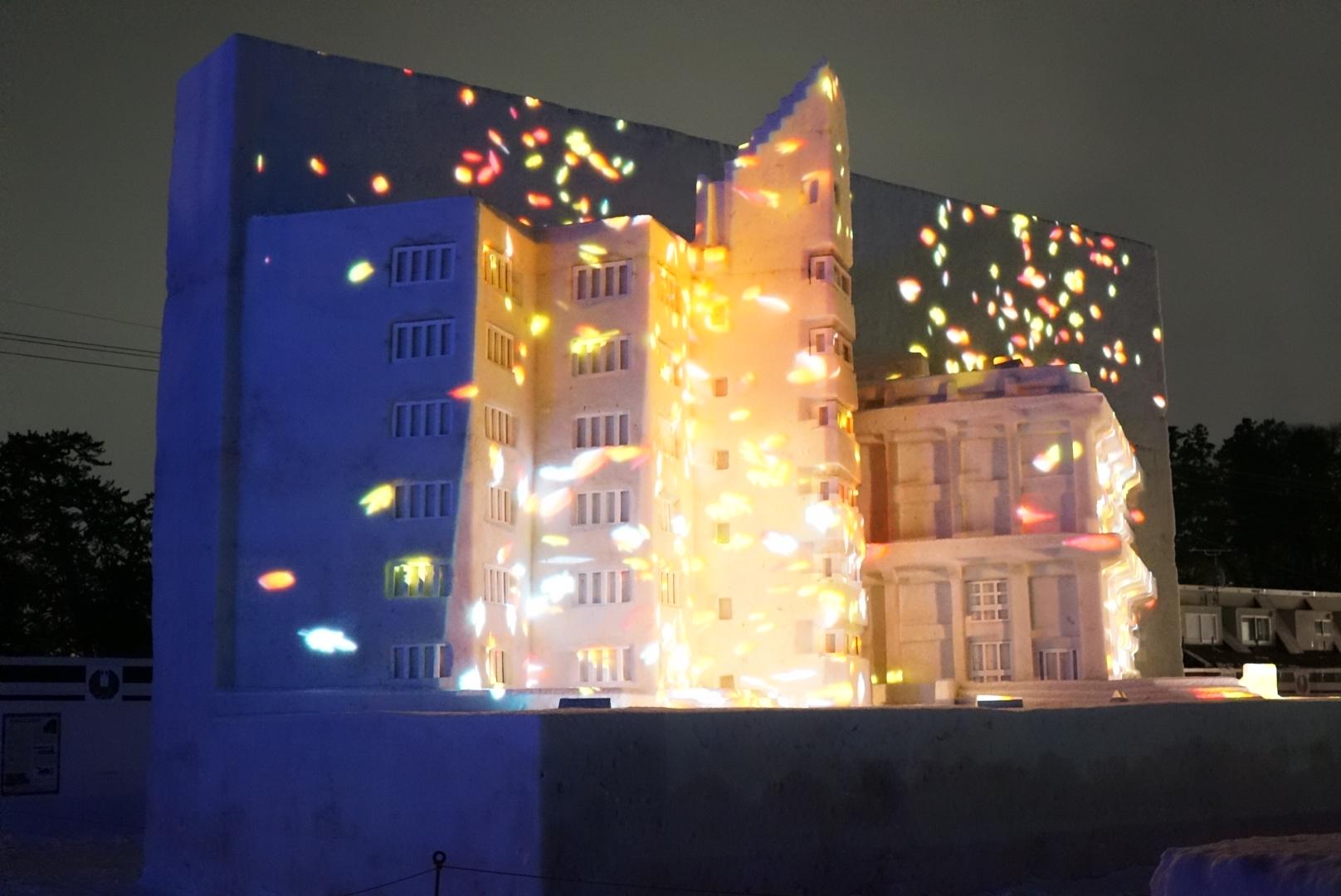 【2018】弘前城雪燈籠まつりのプロジェクションマッピング(弘前市)