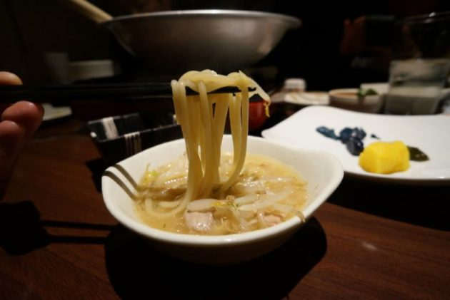 博多もつ鍋山善弘前店のシメのチャンポン麺