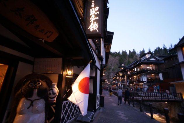 夜の銀山温泉の景色3