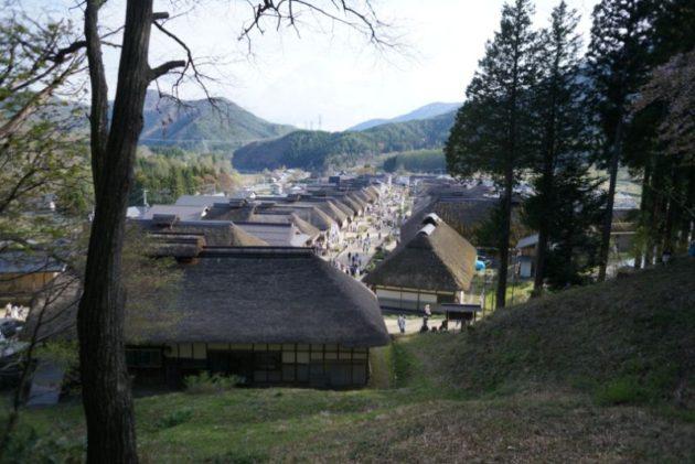 大内宿の高台から見た茅葺屋根