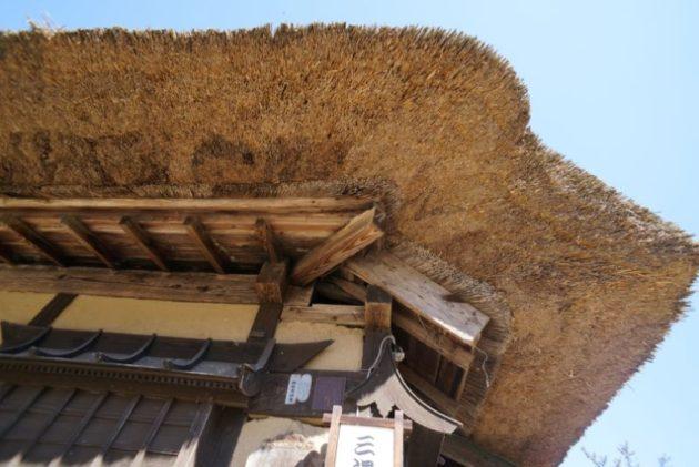 大内宿の茅葺屋根のアップ