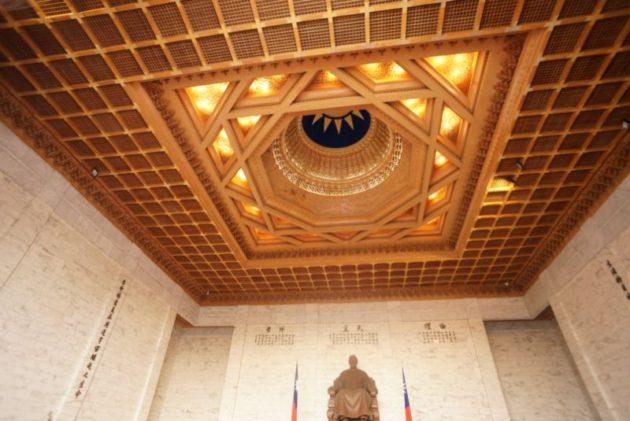 中正記念堂の天井台湾国旗