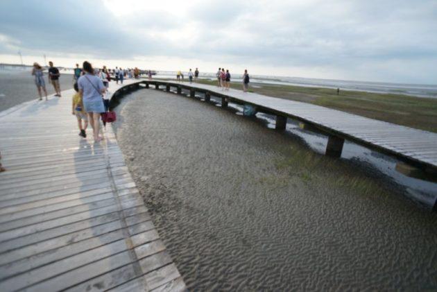 高美湿地何故か二手に分かれる橋
