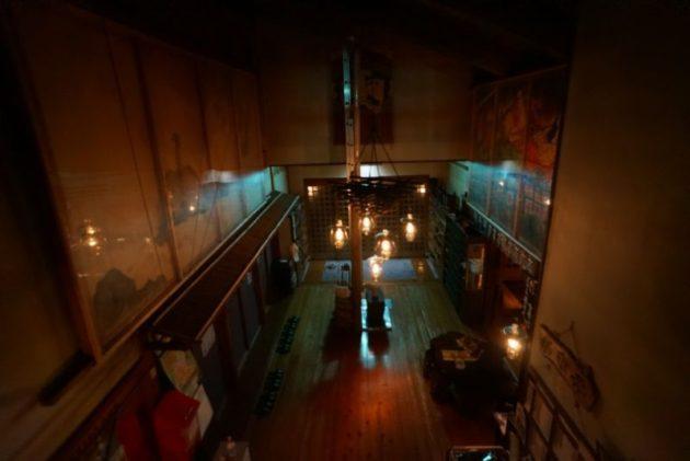 青荷温泉の夜のランプ
