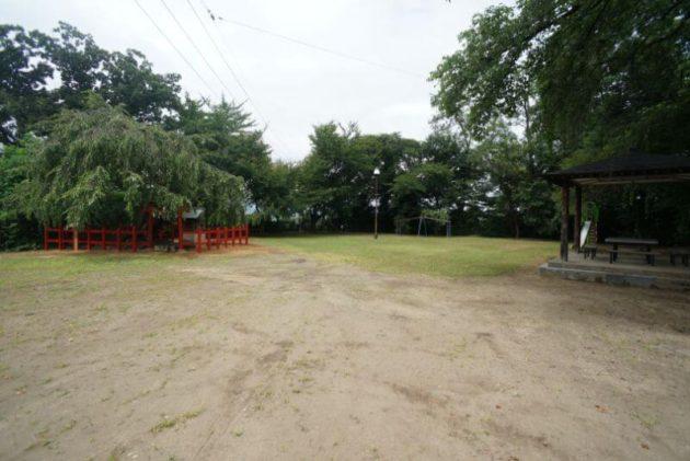 弘前天満宮の枝垂れ桜と公園